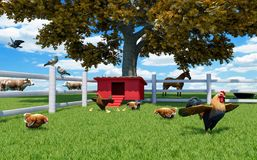 Rooster, hens and chickens in poultry farm with chicken coop and farm animals Vector Illustration