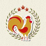 Rooster icon of chinese calendar Stock Photography