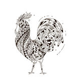 Rooster inspired zentangle style. Coloring for vzdosly black and white cock. Illustration can be used as print fabric, bags, calendars. Rooster symbol 2017 Stock Photo