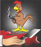 Rooster kill the butcher Stock Photo