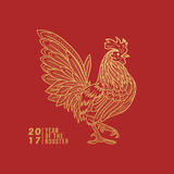 Rooster Line Illustration Royalty Free Stock Photography