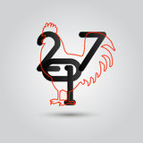 2017 Rooster logo, cock silhouette on a white background. New year 2017 Rooster logo silhouette on a white background Royalty Free Stock Image
