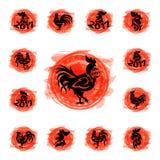 Rooster logo vector cute cartoon illustration new year 2017 badges bird symbol farm animal hen cockerel chinese. Silhouette. Domestic chicken badge feather Stock Illustration