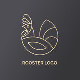 Rooster logo design. Template. Label for natural farm products. Gold logotype on black background. Vector illustration in line style Royalty Free Stock Photography