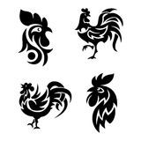 Rooster logo icons vector illustration. Cute cartoon rooster logo icons illustration. New Year 2017 badges isolated on background. Bird, cock farm. cock farm Stock Images