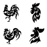 Rooster logo icons vector illustration. Cute cartoon rooster logo icons illustration. New Year 2017 badges isolated on background. Bird ymbol, cock farm. cock Stock Images