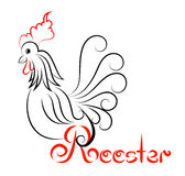 Rooster logo Rooster with swirls Royalty Free Stock Images