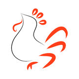 The rooster logo. Rooster on white background. The pattern of red and black lines, vector Royalty Free Stock Photo