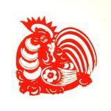 Rooster Lunar year papercut symbol. Papercut of 2017 Chinese Rooster Lunar year symbol Stock Photography