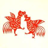 Rooster Lunar year papercut symbol. Papercut of 2017 Chinese Rooster Lunar year symbol Stock Photo