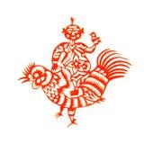 Rooster Lunar year papercut symbol. Papercut of 2017 Chinese Rooster Lunar year symbol Royalty Free Stock Photo