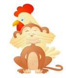 Rooster and monkey as Chinese zodiac symbols Stock Image