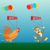 Rooster and monkey. Vector illustration. new Year 2017. New year, rooster, 2017, 2016, cock, monkey, bustle, enjoyable, new, poster, chicken, year, animal Stock Photography