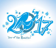 Rooster 2017 New Year design. Snow Rooster 2017. New Year's design Royalty Free Stock Photography