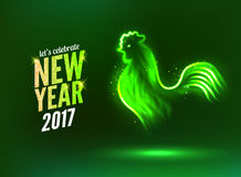 The rooster new year greeting card design template. 2017 new year calendar symbol cock or rooster, glowing neon light on dark Royalty Free Stock Images