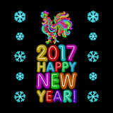 The rooster new year greeting card design template. 2017 new year calendar symbol cock or rooster, glowing neon light on dark. 2017 New Year design. Sign the Royalty Free Stock Image