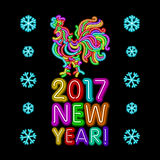 The rooster new year greeting card design template. 2017 new year calendar symbol cock or rooster, glowing neon light on dark. 2017 New Year design. Sign the Royalty Free Stock Images