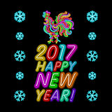The rooster new year greeting card design template. 2017 new year calendar symbol cock or rooster, glowing neon light on dark. 2017 New Year design. Sign the Royalty Free Stock Photo