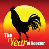 Rooster, New Year 2017. Rooster Silhouette on Background sunrise. Eps 10 Royalty Free Stock Photography
