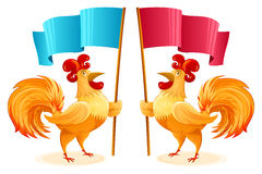 Rooster New Year Symbol Cartoon Character Colorful Isolated Flag Royalty Free Stock Photo