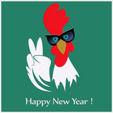 Rooster New year 2017 symbol in sunglasses showing victory gesture. Happy new year greeting card or poster design with rooster in sunglasses showing victory Royalty Free Stock Photography