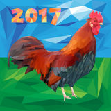Rooster and 2017 numbers in polygon style on a landscape background. Red fiery cock is a new year symbol. Low poly vector illustration Royalty Free Stock Photography