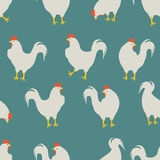 Rooster pattern blue. An illustration for your creativity. This is seamless pattern. Good choice for pattern of textile, gift paper Stock Photography