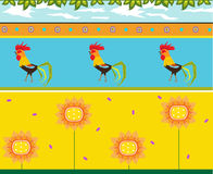 Rooster Pattern. Colorful pattern of roosters and flowers. Eps10 Royalty Free Stock Photography