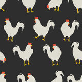 Rooster pattern dark grey. An illustration for your creativity. This is seamless pattern. Good choice for pattern of textile, gift paper, print of clothing, the Stock Photos