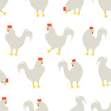 Rooster pattern white. An illustration for your creativity. This is seamless pattern. Good choice for pattern of textile, gift paper, print of notebook Stock Photography