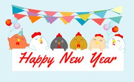 Rooster peeping behind placard, happy new year, chicken background, happy cock with Happy new year party Vector Illustration.  Stock Photo