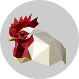 Rooster in a polygon style. Fashion illustration of the trend in. Style on gray background. Farm animals Stock Photography