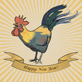 Rooster Postcard Happy New Year. In the sun stock illustration