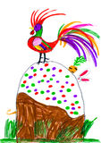 Rooster and rabbit on Easter cake. childs drawing Stock Photography