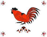 Rooster in red and black. In a folk style. One of the signs of the zodiac, the Chinese horoscope, folklore character. Vector illustration in red and black color stock illustration