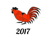 Rooster in red and black colors. Symbol 2017. Christmas vector in a folk style. Suitable for greeting cards, invitations, design elements for Christmassy vector illustration
