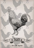 Rooster red cock chicken cockerel new year symbol 2017 graphic c Royalty Free Stock Photos