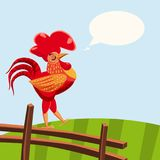 Rooster red isolated. Cartoon style vector illustration. Template for your design works. vector illustration