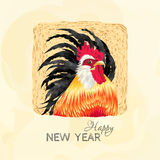 Rooster`s head white and black. Happy new year card with rooster. Cock in a square with a straw background black tail, red comb. Vector illustration of symbol of Royalty Free Stock Images