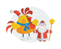 Rooster with Santa Claus Cartoon Flat Vector Icon. Rooster with Santa Claus. Cock in Christmas hat near Santa with scepter isolated flat vector. Chinese zodiac Stock Photos