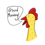 Rooster saying good morning illustration. Rooster wake up call drawing Royalty Free Stock Photo
