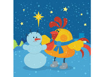 Rooster Sculpts Snowman at Christmas Eve Night Stock Photos