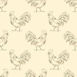 Rooster. Seamless pattern 2. Seamless background with hand drawn sketch Stock Photo