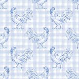 Rooster. Seamless pattern 1. Checkered background. Plaid Stock Images