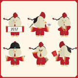 Rooster set character Happy chinese new year 2017 Royalty Free Stock Photos