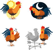 Rooster set 1. Rooster Set, with Singing Rooster, Sleeping Rooster, Rooster singing at Dawn and Rooster Staering at a Weather-vein Rooster. Vector illustration Royalty Free Stock Photo