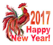 Rooster and sign 2017 Happy New Year . Watercolor painting. Colorful rooster and the sign 2017 Happy New Year on white background. Watercolor painting, hand Royalty Free Stock Photography