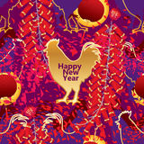 Rooster silhouette card seamless pattern Stock Image
