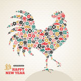 Rooster Silhouette for 2017 Chinese New Year. Cock Silhouette for 2017 Chinese New Year Design. Vector illustration. Asian Lantern, Clouds and Flowers in Stock Photos