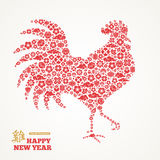 Rooster Silhouette with Chinese Signs and Symbols. Rooster Silhouette with Red Chinese Signs and Symbols - Sakura Flowers, Clouds and Lanterns. Vector stock illustration